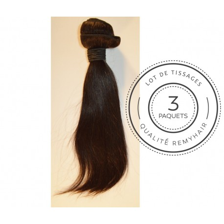 "3 PAQUETS - TISSAGE BRESILIEN raide taille 12"" REMYHAIR"