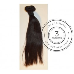 "3 PAQUETS - TISSAGE BRESILIEN raide taille 14"" REMYHAIR"