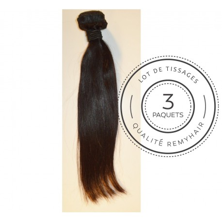 "3 PAQUETS - TISSAGE BRESILIEN raide taille 16"" REMYHAIR"