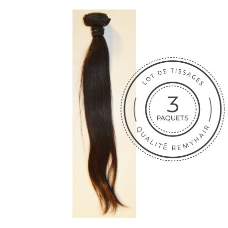 "3 PAQUETS - TISSAGE BRESILIEN raide taille 18"" REMYHAIR"